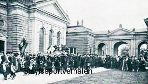 De begrafenis van Louis Mettling op het Johannisfriedhof in Dresden.