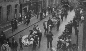 Willy Schmitter, doodgevallen in het Lepzig van 1905. Willy, 20 jaar geworden, en afkomstig uit Keulen kreeg een heldenbegrafenis.